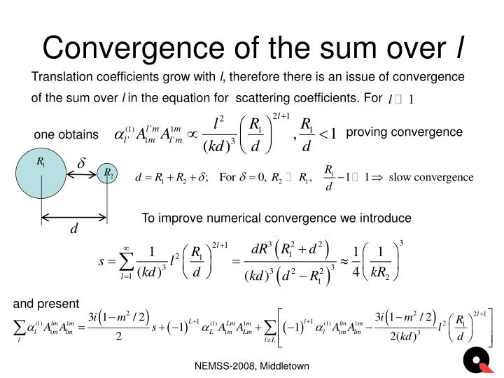 Convergence of the sum over