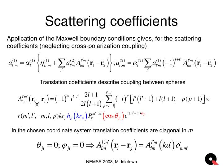 Scattering coefficients