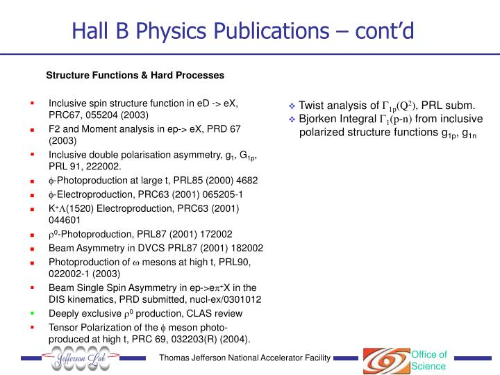 Hall B Physics Publications – cont'd