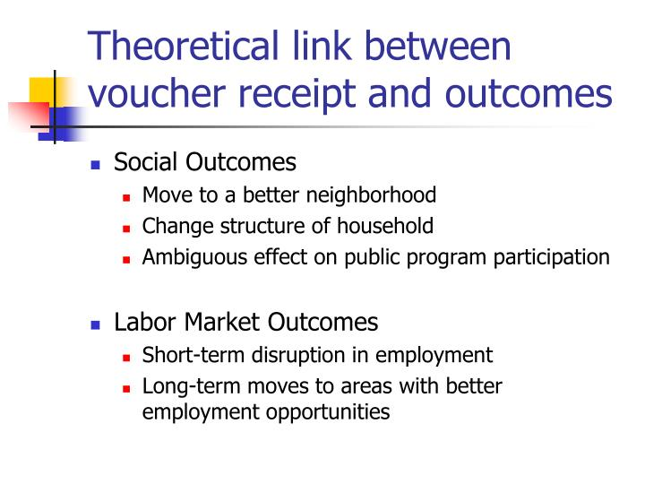 Theoretical link between voucher receipt and outcomes