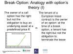 break option analogy with option s theory i
