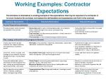 working examples contractor expectations