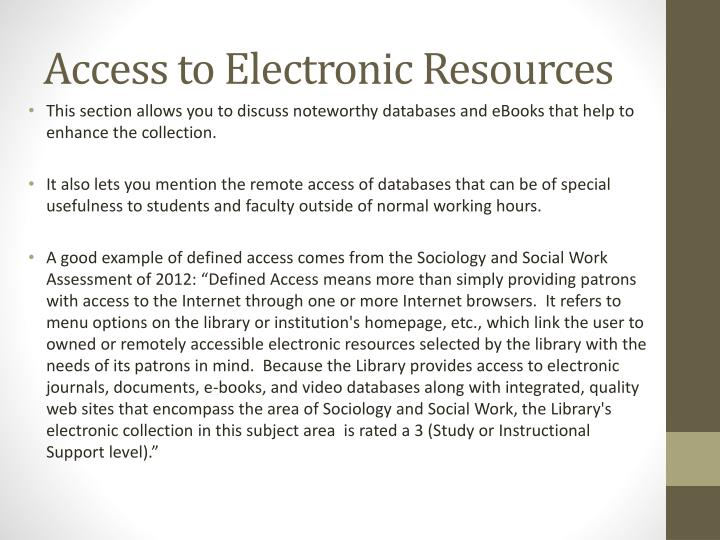 Access to Electronic Resources