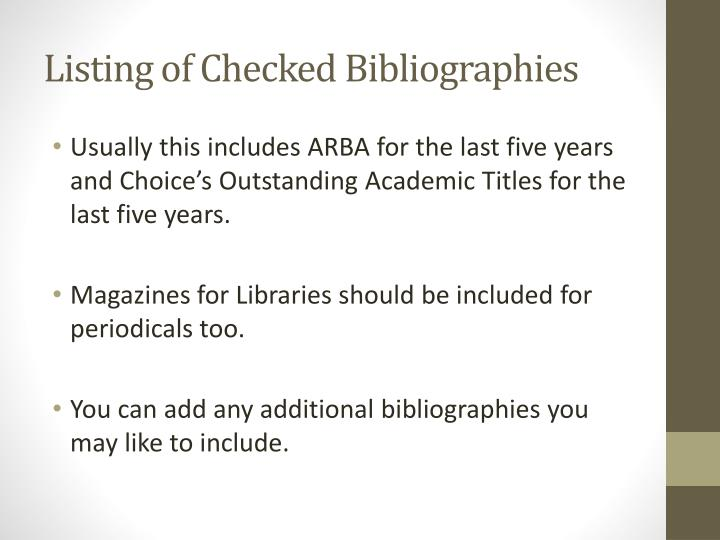 Listing of Checked Bibliographies