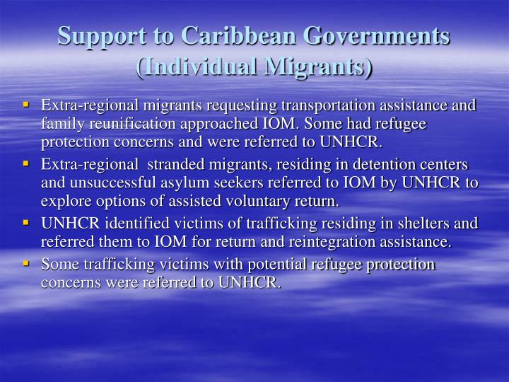 Support to Caribbean Governments (Individual Migrants)