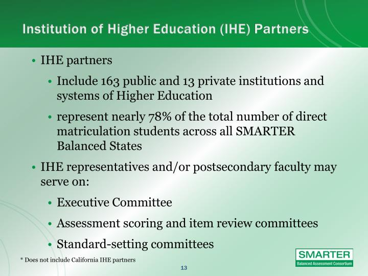 Institution of Higher Education (IHE)