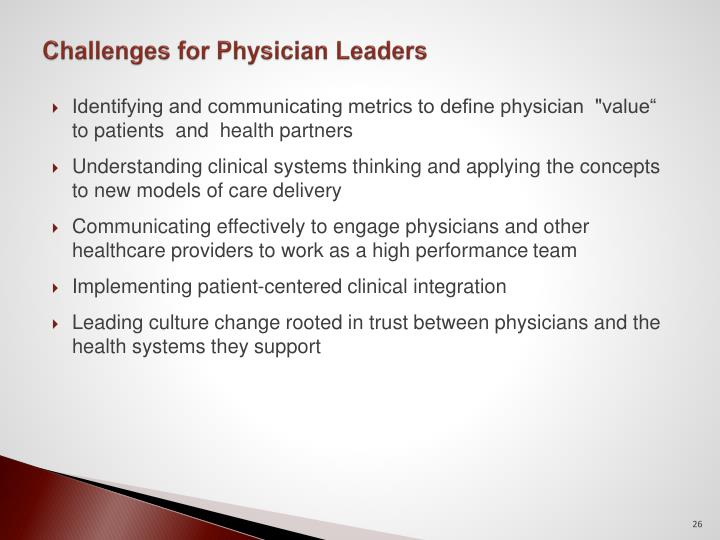 Challenges for Physician Leaders