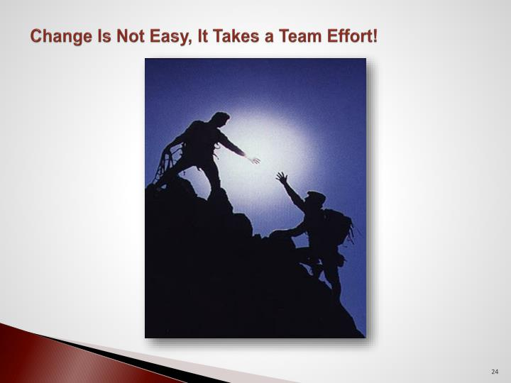 Change Is Not Easy, It Takes a Team Effort!