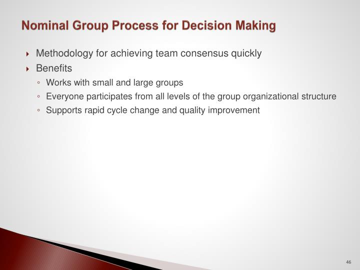 Nominal Group Process for Decision Making