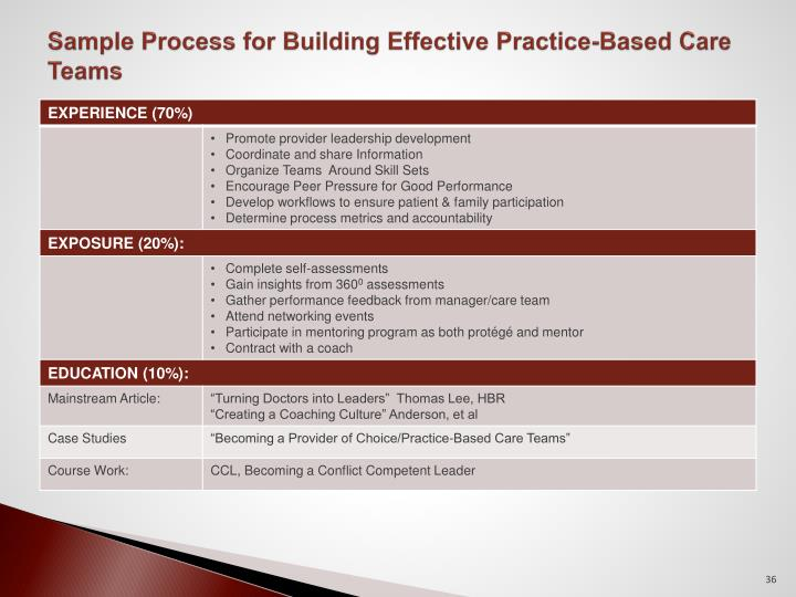 Sample Process for Building Effective Practice-Based Care Teams