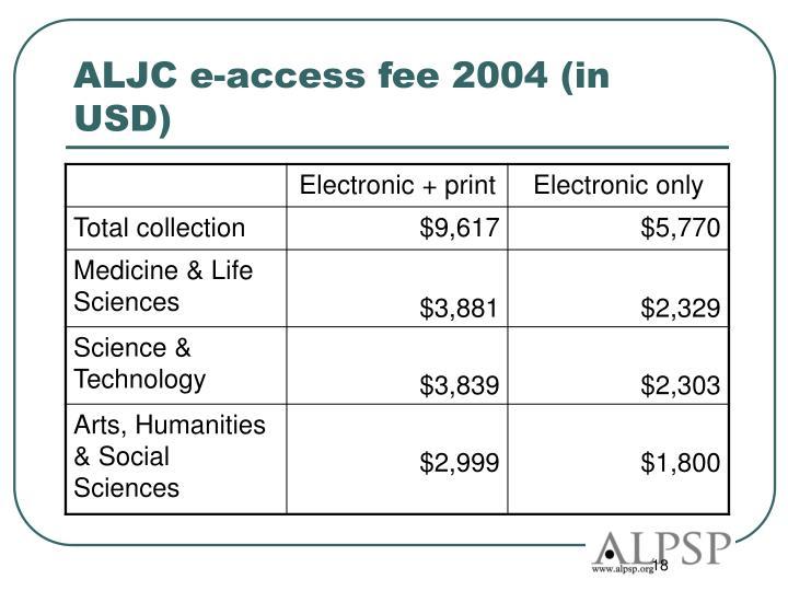 ALJC e-access fee 2004 (in USD)