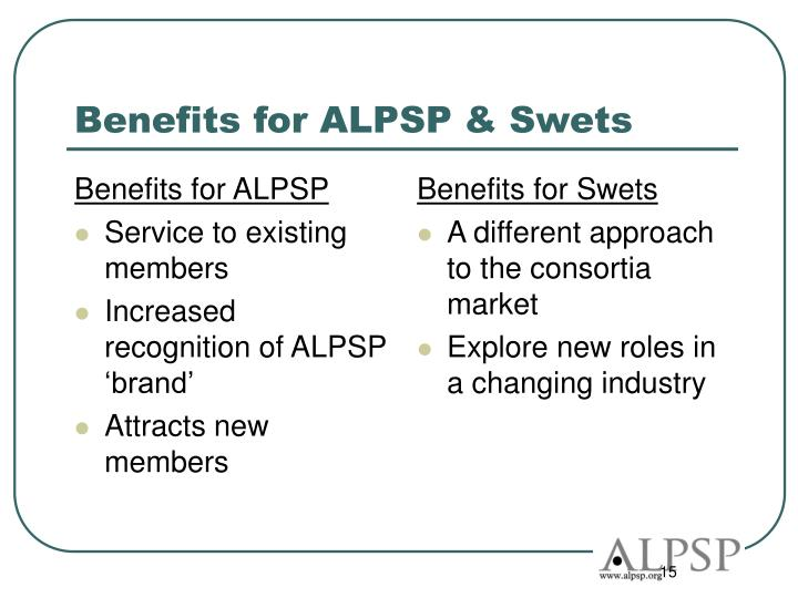 Benefits for ALPSP