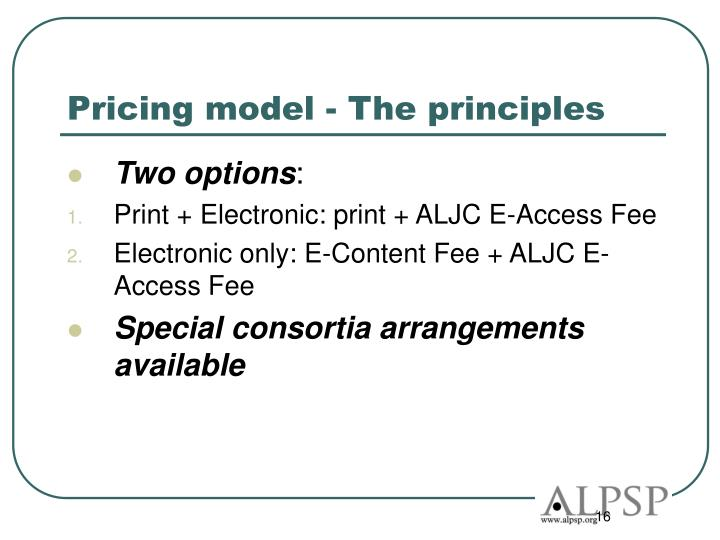 Pricing model - The principles