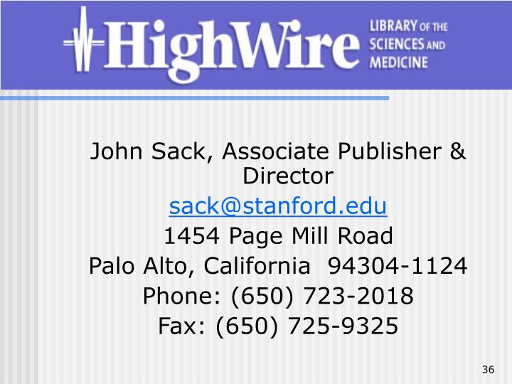 John Sack, Associate Publisher & Director