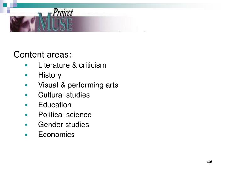 Content areas: