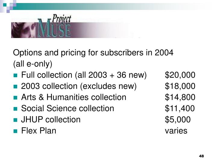 Options and pricing for subscribers in 2004