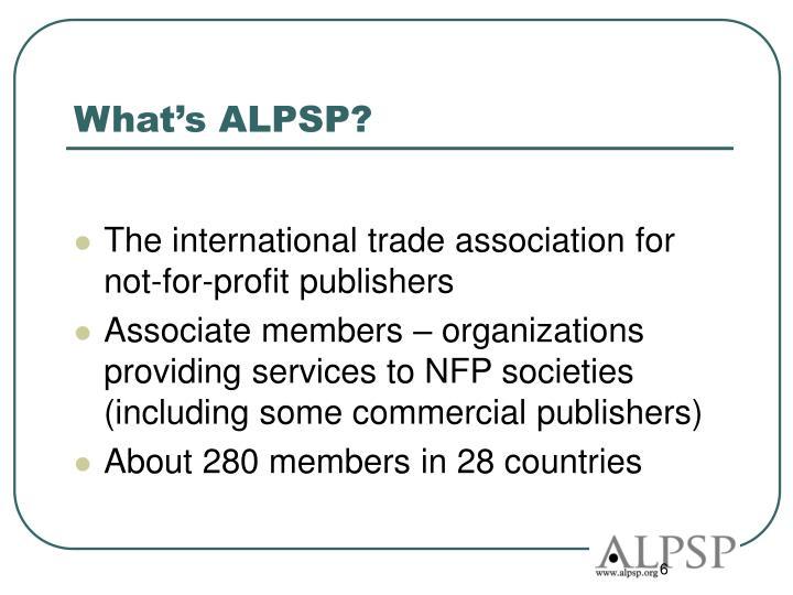 What's ALPSP?