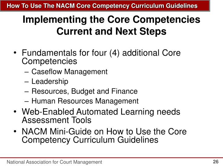 ppt - how to use the nacm core competency curriculum guidelines powerpoint presentation
