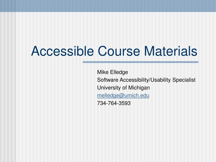 accessible course materials n.