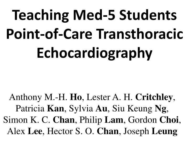 teaching med 5 students point of care transthoracic echocardiography n.