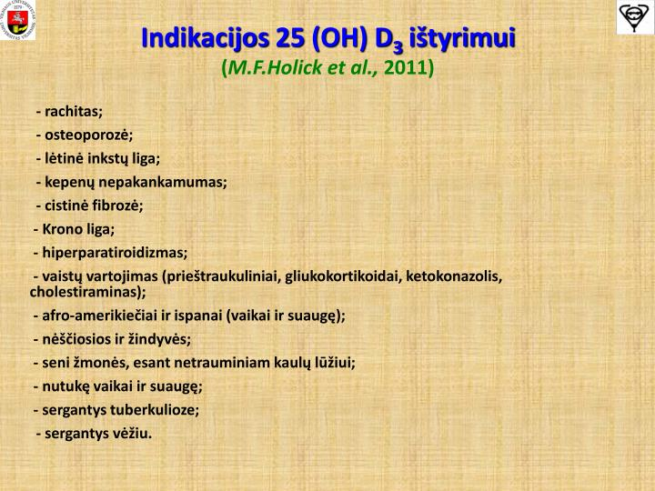 Indikacijos 25 (OH) D