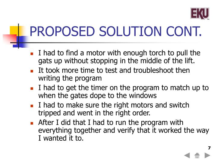 PROPOSED SOLUTION CONT.