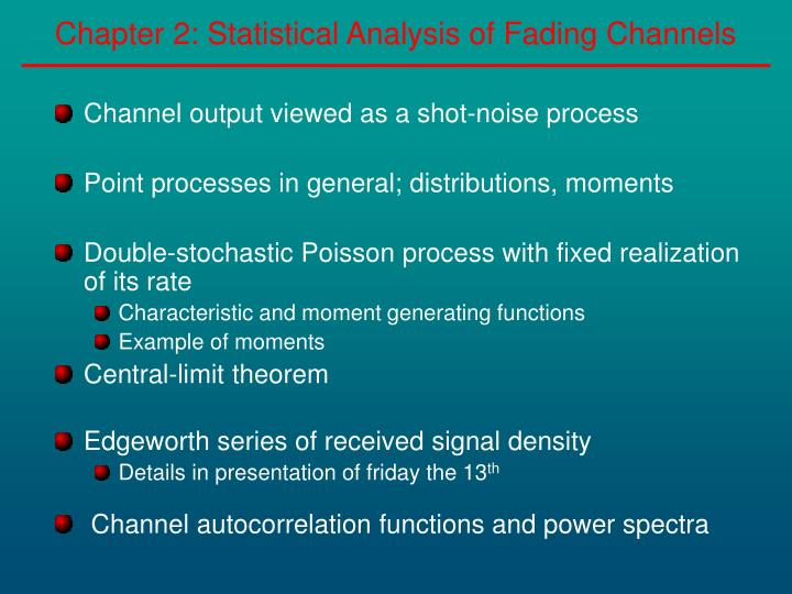 chapter 2 statistical analysis of fading channels n.