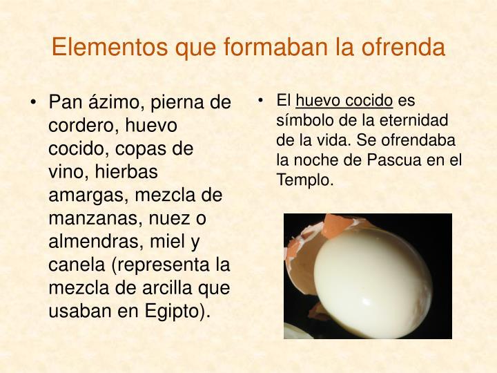 Pan ázimo, pierna de cordero, huevo cocido, copas de vino, hierbas amargas, mezcla de manzanas, nuez o almendras, miel y canela (representa la mezcla de arcilla que usaban en Egipto).