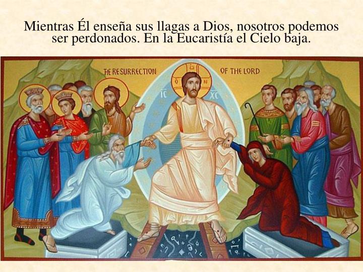 Mientras Él enseña sus llagas a Dios, nosotros podemos ser perdonados. En la Eucaristía el Cielo baja.
