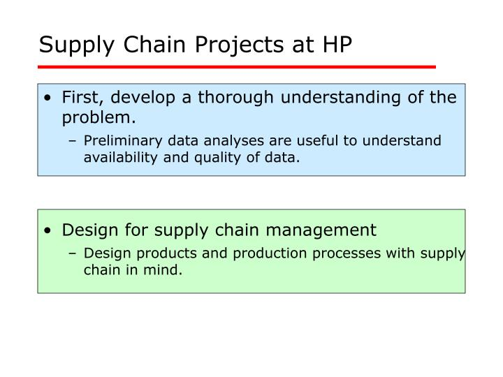 supply chain projects at hp n.