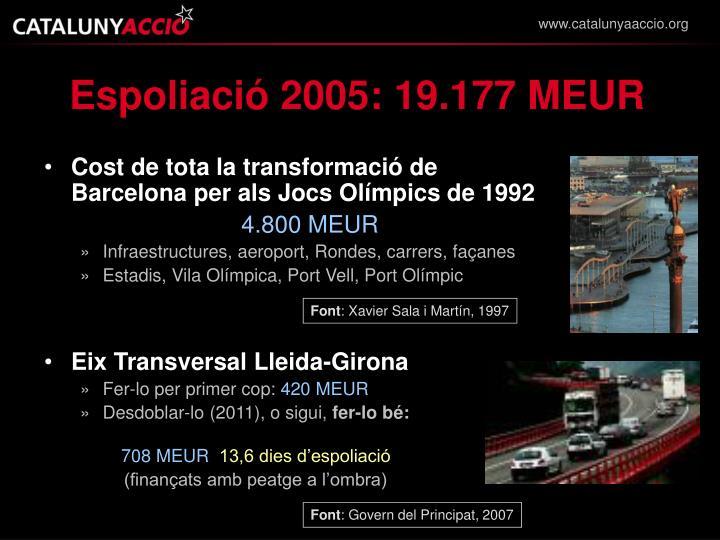 Espoliació 2005: 19.177 MEUR