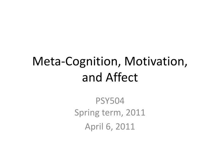 meta cognition motivation and affect n.