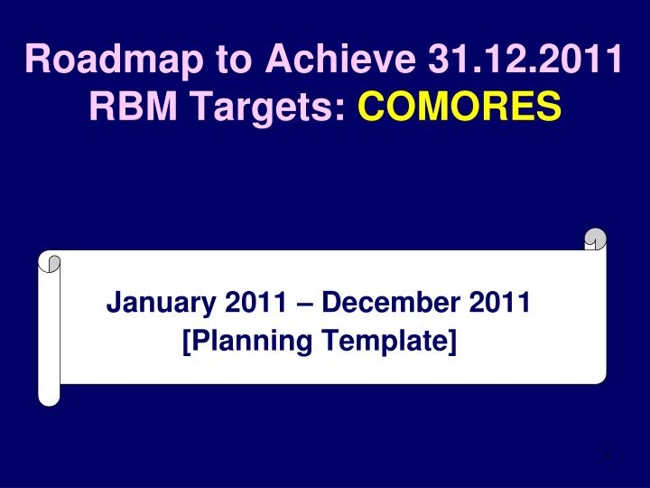 roadmap to achieve 31 12 2011 rbm targets comores n.