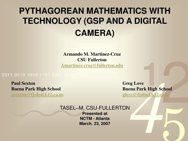 pythagorean mathematics with technology gsp and a digital camera n.