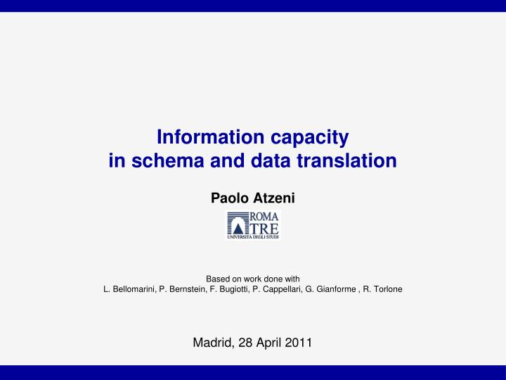 information capacity in schema and data translation n.