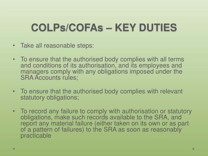 COLPs/COFAs –