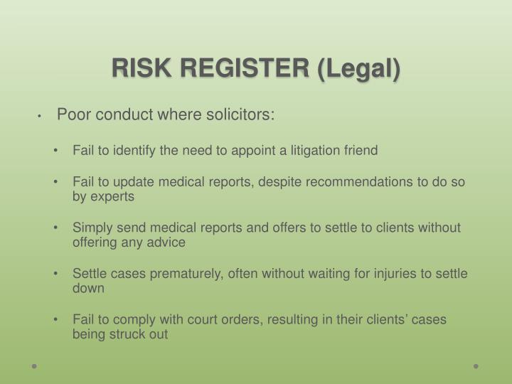 RISK REGISTER (Legal)