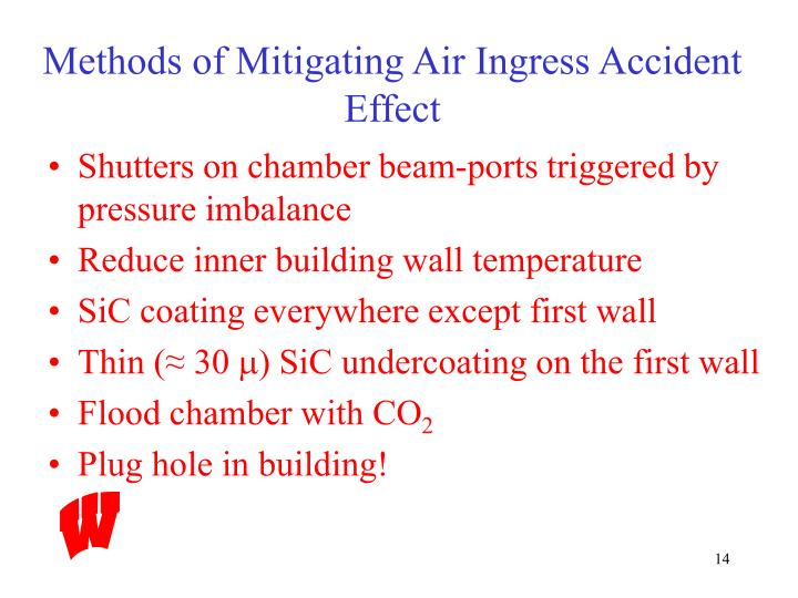 Methods of Mitigating Air Ingress Accident Effect