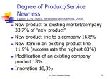 degree of product service newness quelle d n lascu international marketing 2006