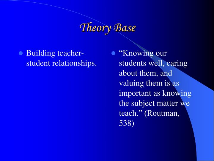 Building teacher-student relationships.