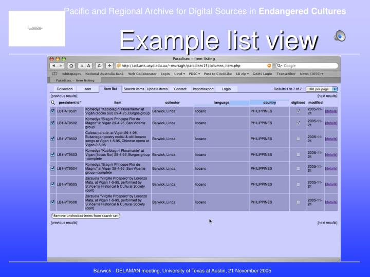 Example list view