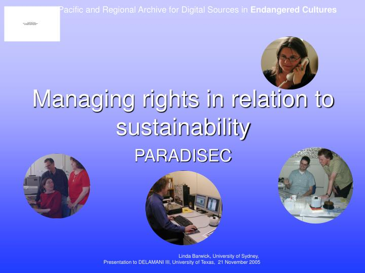 Managing rights in relation to sustainability
