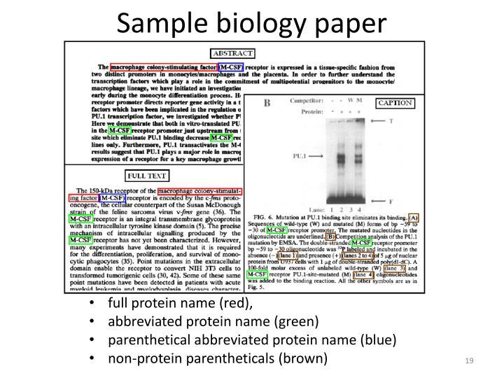 Sample biology paper