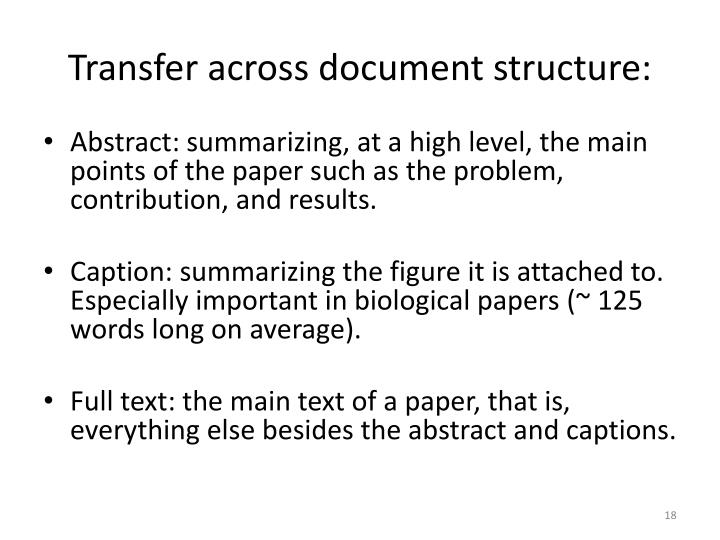 Transfer across document structure: