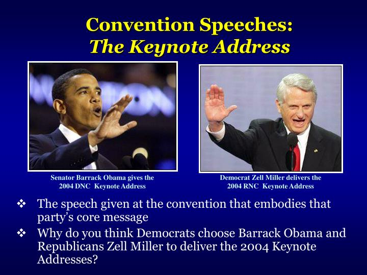 The speech given at the convention that embodies that party