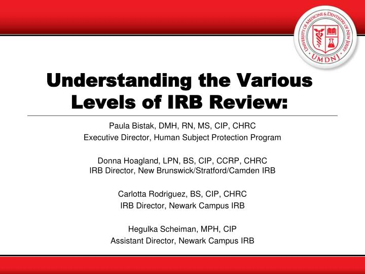 understanding the various levels of irb review n.
