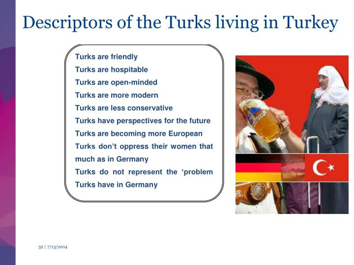 Descriptors of the Turks living in Turkey