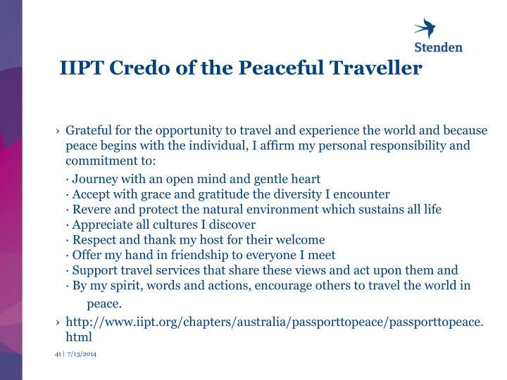 IIPT Credo of the Peaceful Traveller