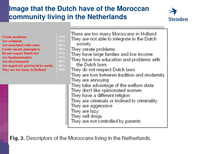 Image that the Dutch have of the Moroccan community living in the Netherlands