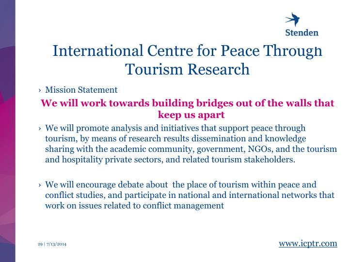 International Centre for Peace Through Tourism Research